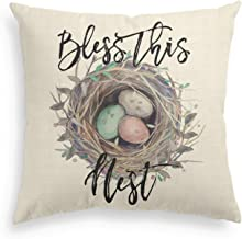 AVOIN Easter Bless This Nest Pillow Cover Vintage Spring Bird's Nest Eggs Linen Decorative Throw Pillowcase, 18 x 18 Inch Cute Cushion Protector for Sofa Couch Home Decor