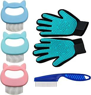 Full Range of Pet Grooming Tool kit Including Pet Grooming Glove,Pet Massage Comb and Flea Comb -[Upgrade Version] 305 Tip...