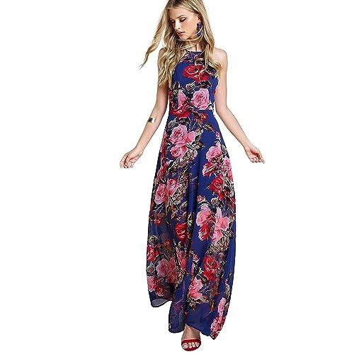 a9bd6467c2abf Floerns Women s Sleeveless Halter Neck Vintage Floral Print Maxi Dress