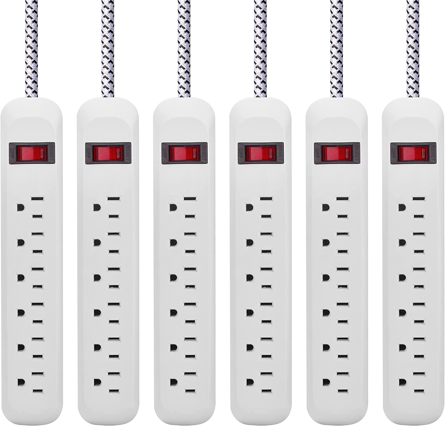 Switched Surge Protector Power shipfree Strip 1865W Plug Outlet 180° Bargain 5