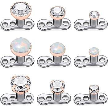 Amazon Com Kridzisw 9pcs Opal Stone Dermal Anchor Tops And Base 316l Surgical Steel Titanium Microdermal Piercing