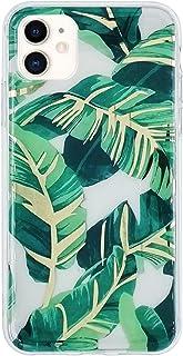 HolaStar Compatible con iPhone 12 Mini Funda, Hojas de Palma Verde Brillante con Tallo Dorado Cubierta Protectora para Car...