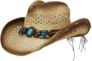 La Vogue Straw Cowboy Hat Bend Brim Fedora Hat Faux Turquoise Belt
