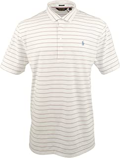 Polo Golf Ralph Lauren Men's Striped Active Fit Stretch Lisle Polo Shirt (XXL, White)