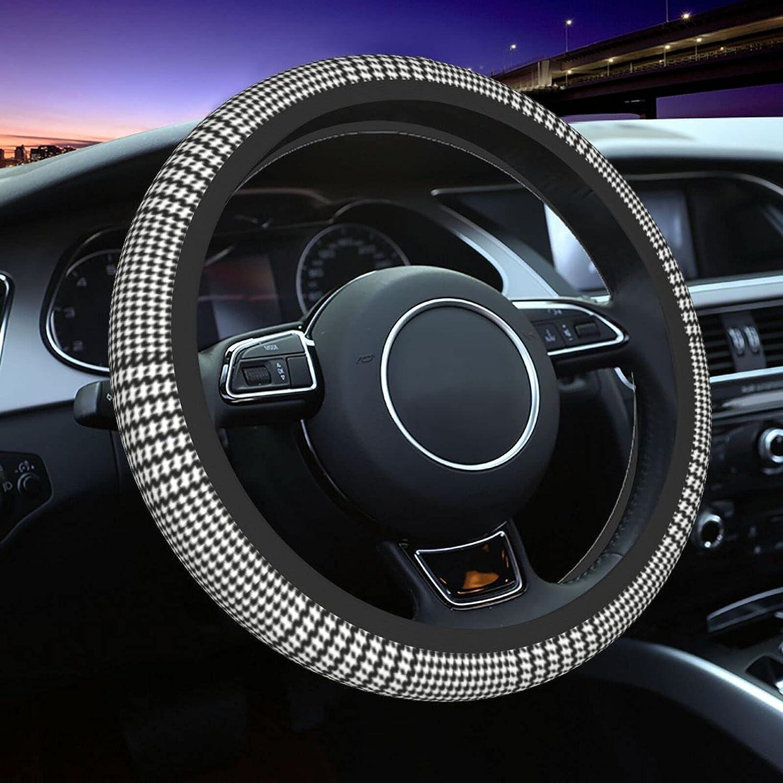 Glen Plaid Black White Steering 15Inch Wheel wholesale Elegant Cover Aut Universal