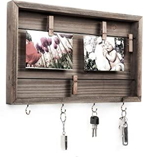 Space Art Deco Shadow Box Clip Frame with Hooks - Holds 4x6 Photos - Four Wooden Clips Included - Four Key Hooks - Wire Rows - Sawtooth Hangers - Rustic Dark Brown Color