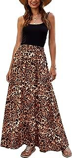 Women Leopard Print Long Skirts Chiffon Summer Beach Pleated Elastic High Waisted Maxi Skirts