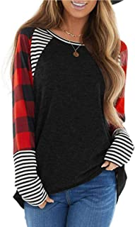 Women's Casual Crew Neck Long Sleeve Tunics Tops Plaid Stripe Color Block Pullover Fall Shirts