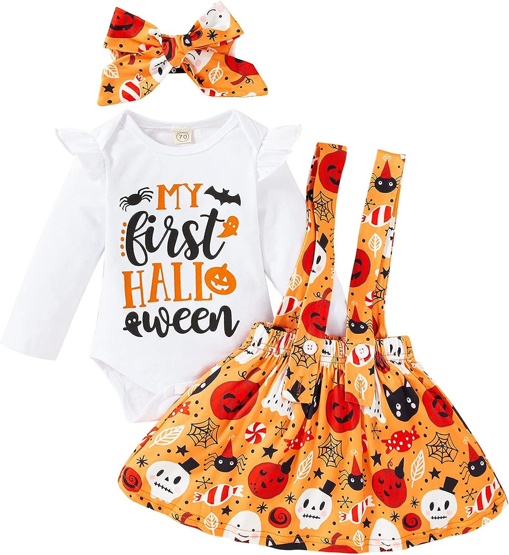 Baby Girl My First Halloween Skirt Outfits Newborn Ruffle Romper Pumpkin Ghost Suspender Dress 3Pcs Clothes