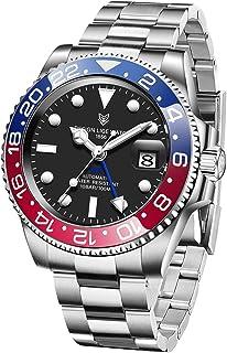 ساعة يد ميكانيكية للرجال من LIGE ، ساعة GMT عرض التاريخ الكلاسيكي مقاومة للماء 100M ساعة للرجال سوار من الفولاذ المقاوم للصدأ