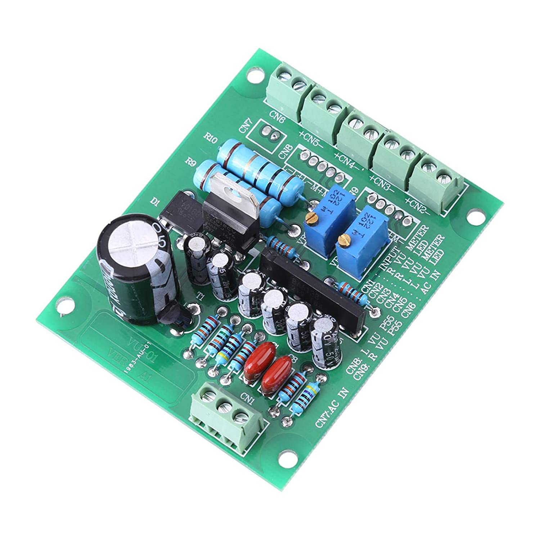 Regalo de julio Amplificador de nivel de audio, grabación de luz de fondo cálida, con placa de controlador Durable para circuito de filtro de rectificador de pila de puente Plástico + metal Medidor d