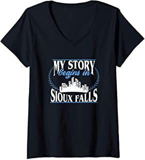 Womens Sioux Falls shirt | Born in Sioux Falls V-Neck T-Shirt