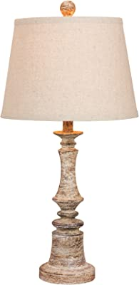Cory Martin W-6240CABG Fangio Lighting's #6240CABG 26.5 in. Distressed Candlestick Resin Table Lamp in a Cottage Antique Beige Finish