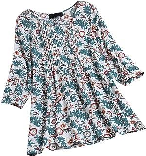 OULSEN Women's Plus Size Floral Long Shirt Long Sleeve Crew Neck Retro Blouse Fashion Loose Swing Tunic Top Shirt M-5XL