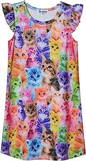 Princess Nightgown for Girls Unicorn Cat Flutter Sleeve Cotton Pajamas Dress