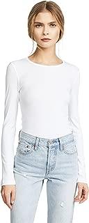 Splendid Women's 1X1 Rib Long-Sleeve Crew T-Shirt Top, White, XX-Small