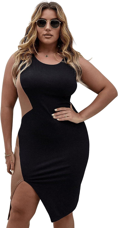 Floerns Women's Plus Size Colorblock Sleeveless Split Thigh Bodycon Midi Dress