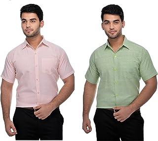 DESHBANDHU Mens Formal Khadi Half Sleeve Shirts Combo Pack (Peach, LGreen)