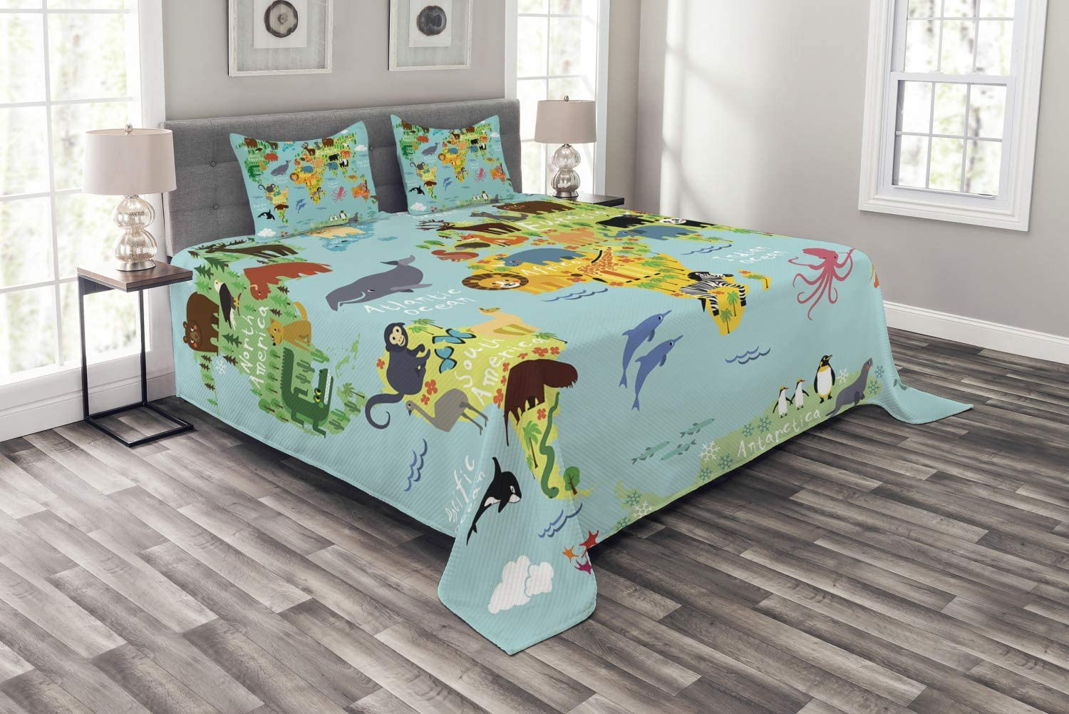 Ambesonne ハイクオリティ 並行輸入品 Wanderlust Bedspread Animal Map of Chil World for The