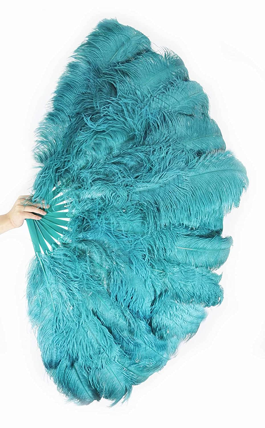 Teal 3 Layers Max 57% OFF Ostrich Feather Fan New item 65