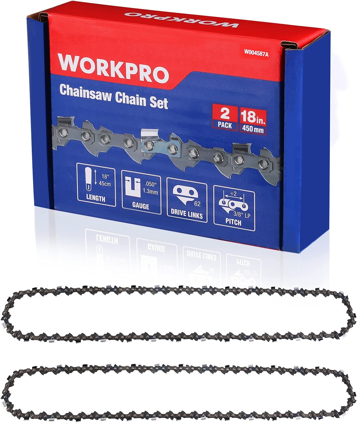 New York Mall WORKPRO 2-Pack Chainsaw Chain for 18-Inch 3 Bar Driv 62 8