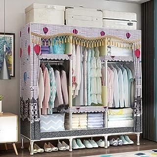 CXVBVNGHDF Armoire en Toile Organisateur de Rangement de vêtements de Garde-Robe Portable avec 3 tringles à vêtements, 5 é...