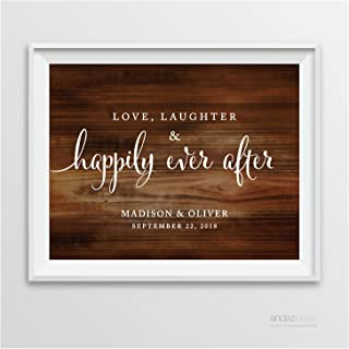 Andaz Press Personalized Wedding Party Signs, Rustic Wood Print, 8.5-inch x 11-inch, Love, Laughter & Happily Ever After, 1-Pack, Custom Made Any Name