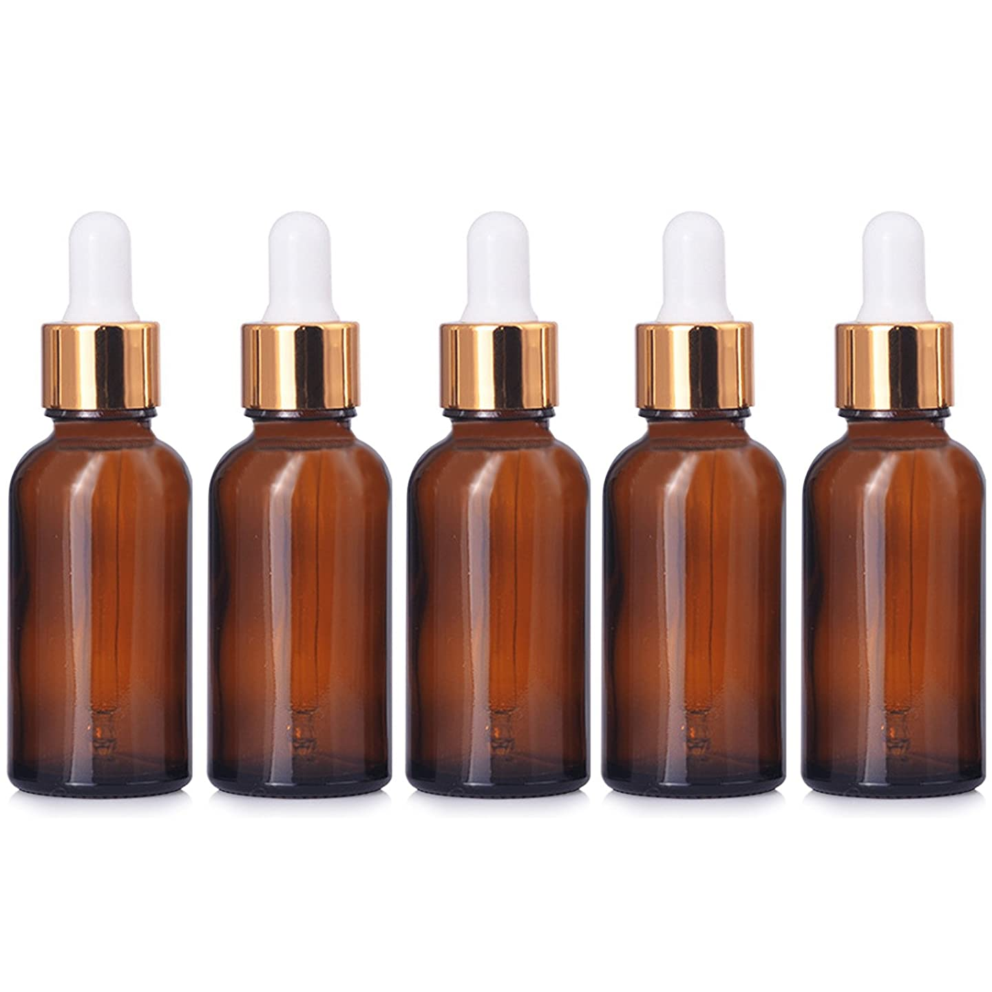 5 PCS Portable Travel 1oz/30ml Dark Brown Empty Refillable Glass Bottles Essential Oil Perfume Liquid Lotion Containers Bottles with Golden Head Droppers