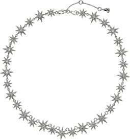 Blue by Betsey Johnson Silver Tone Star Collar Necklace with Pave Crystal Accents