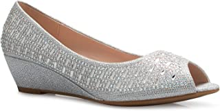 Womens Classic Open Toe Kitten Heel Wedges | Dress, Work, Party Low Heeled