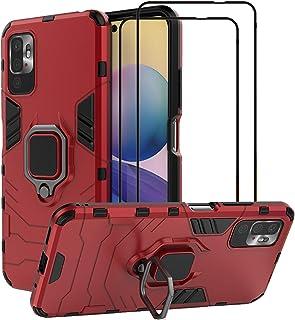 EasyLifeGo for Xiaomi Redmi Note 10 5G / Xiaomi Poco M3 Pro 5G Kickstand Case with Tempered Glass Screen Protector [2 piec...