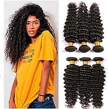 Dai Weier Brazilian Hair 3 Bundles Deep Wave Generic Weft Weave 300g Remy Human Extension Shorter Silky Natural Black Grade 8a Uk 16 18 20 Inches