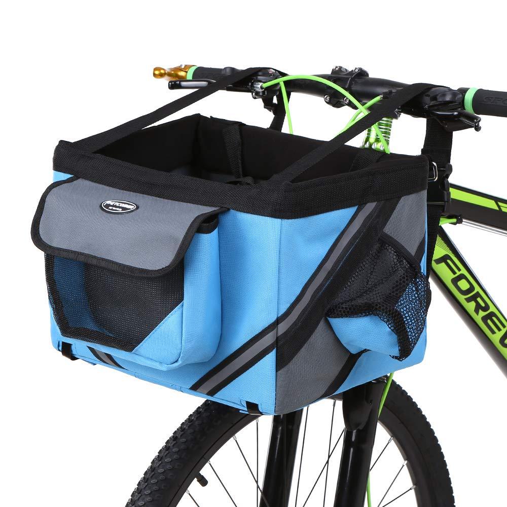 Lixada Bicicleta de Manillar Cesta, Bicicleta Caja Delantera Bolsa con Banda Reflectante, Cesta de Gran Capacidad, Extraíble, Plegable, Mascota Perro Gato Portador: Amazon.es: Deportes y aire libre