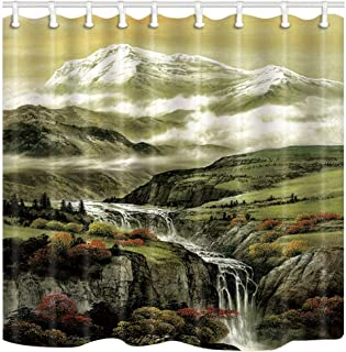 ChuaMi Mountain Shower Curtain, Plateau Iceberg Landscape, Forest Rivers Cliff and Maple Tree Scenery, Bathroom Decor Polyester Fabric 69 x 70 Inches with 12 Hooks