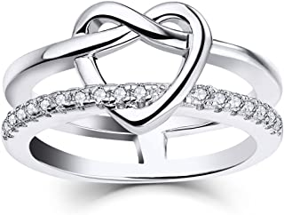 JO WISDOM 925 Sterling Silver Infinity Love Knot Heart Promise Ring for Her