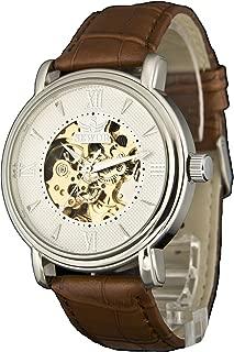 Men's Dress Mechanical Hand Wind Gold Movement Leather Wrist Watch (Brown Gift Box)