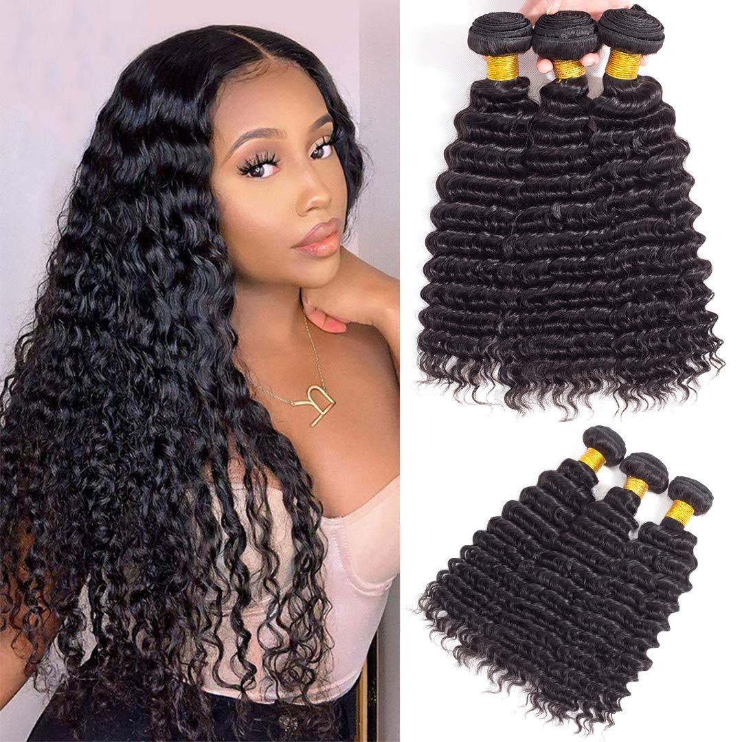 Raleigh Mall Brazilian Virgin SEAL limited product Deep Wave Hair 3 9A Unprocessed Bundles Vi 100%