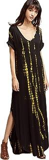 MAKEMECHIC Casual Maxi Short Sleeve Split Tie Dye Long Dress