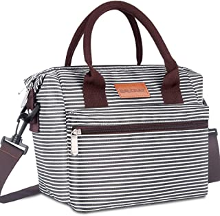 BALORAY Lunch Bags for Women Leakproof Insulated Lunch Bag with Adjustable Shoulder Strap lunch Box Lunch Tote Bag for Work/Picnic (Black White Strip)