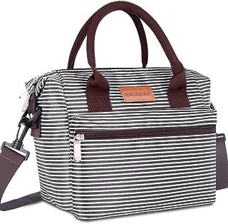 BALORAY Leakproof Lunch Bag for Women Adjustable Shoulder Strap Leakproof Cooler Lunch Tote Bag for Work/Picnic (Black White Strip)