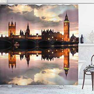 Ambesonne Urban Shower Curtain, Surreal Evening at Big Ben London Historical Architecture British Town UK Scene, Cloth Fabric Bathroom Decor Set with Hooks, 70