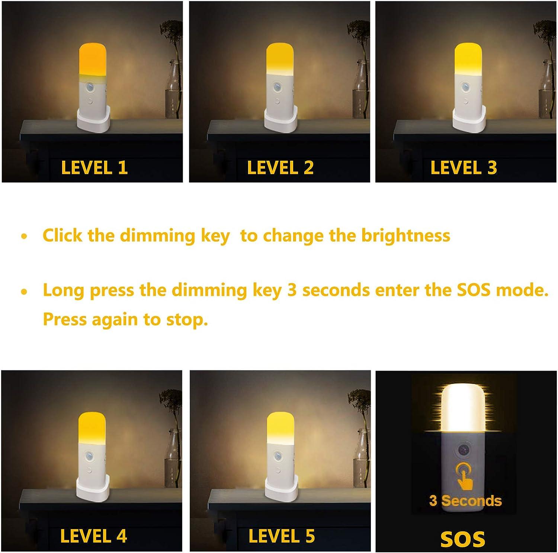 2000mAh Recargable Bater/ía Habitaci/ón Sensor Movimiento L/ámpara de Mesita de Noche 1-PACK Luz C/álida para Ni/ños Zoeson Luz Nocturna de LED Regulable