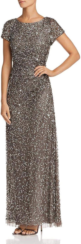 Adrianna Papell Womens Sequin Draped Evening Dress