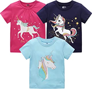 Girls Short Sleeve Shirt Toddler Kids Unicorn T-Shirt...