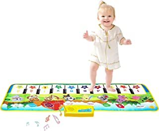 "M SANMERSEN Kids Piano Mat, 39.5"" X 14"" Piano Keyboard Dancing Mat Electronic Funny Animal Touch Carpet Musical Blanket To..."