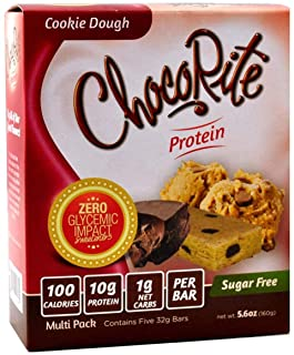 ChocoRite Protein Bars in Cookie Dough Flavor Healthy Chocolate Keto Snacks with Protein — Sugar-Free and Low Carbs — Multi Pack Box (5 Bars x 32grams)