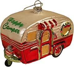 Robert Stanley Home Collection Happy Camper Glitter Embellished Glass Christmas Tree Ornament