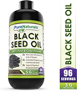 Pure Naturals Black Seed Oil Natural Dietary Supplement - Cold Pressed Black Cumin Seed Oil from 100% Genuine Nigella Sativa - 16 oz Bottle