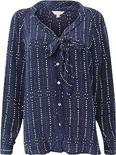 Layla Womens Gaya Long Sleeve Blouse Navy Medium, Large
