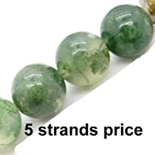 Malahill Gemstone Beads for Jewelry Making, Sold per Bag 5 Strands Inside, Moss Agate 8mm